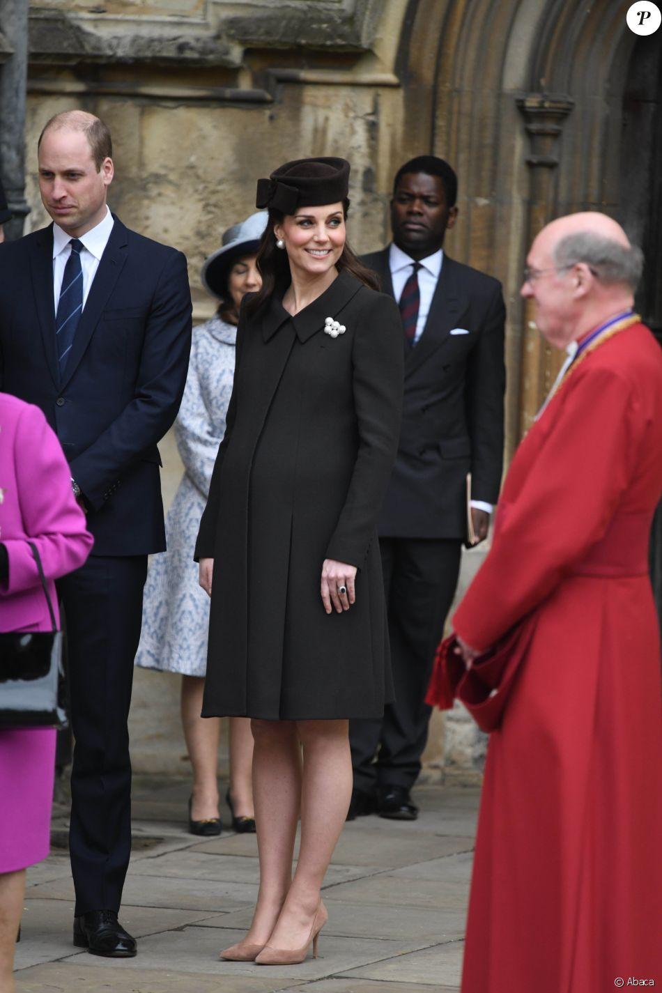 Le prince William et Kate Middleton lors de la messe de Pâques célébrée en la chappelle Saint-Georges du château de Windsor le 1er avril 2018.