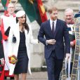 Le prince Harry et sa fiancée Meghan Markle - La famille royale d'Angleterre quitte la cérémonie du Commonwealth en l'abbaye Westminster à Londres. Le 12 mars 2018