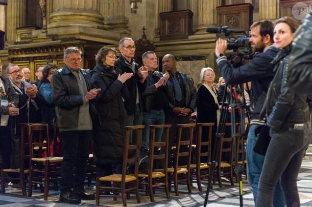 Jean-Claude Camus assiste à la messe mensuelle en la mémoire de Johnny Hallyday à l'église de la Madeleine à Paris le 9 avril 2018. © Pierre Perusseau / Bestimage