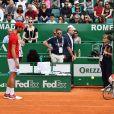 """Novak Djokovic et son fils Stefan lors d'un tournoi caritatif au bénéfice de la fondation Prince Albert II en marge du tournoi de tennis Rolex Masters à Monte-Carlo le 14 avril 2018. L'événement sera retransmis sur l'émission """"James Corden Tv Show"""" sur Sky UK. © Bruno Bebert / Bestimage"""