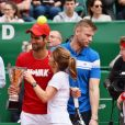 "Novak Djokovic, Geri Halliwell (Horner) lors d'un tournoi caritatif au bénéfice de la fondation Prince Albert II en marge du tournoi de tennis Rolex Masters à Monte-Carlo le 14 avril 2018. L'événement sera retransmis sur l'émission ""James Corden Tv Show"" sur Sky UK. © Bruno Bebert / Bestimage"