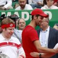 "Novak Djokovic, son fils Stefan et Geri Halliwell (Horner) lors d'un tournoi caritatif au bénéfice de la fondation Prince Albert II en marge du tournoi de tennis Rolex Masters à Monte-Carlo le 14 avril 2018. L'événement sera retransmis sur l'émission ""James Corden Tv Show"" sur Sky UK. © Claudia Albuquerque / Bestimage"