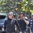 """Exclusif - David Chavet avec son ex-femme Brooke Burke et leurs enfants sortent d'un déjeuner au """"Cafe Havana"""" à Malibu, le 19 avril 2018."""