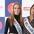 """Maëva Coucke (Miss France 2018) et Malika Ménard (Miss France 2010) participent à la course """"Le Défi des Miss"""" lors du Grand Prix de France à Vincennes Hippodrome de Paris, le 11 février 2018. © Pierre Perusseau/Bestimage"""