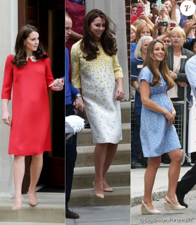 La duchesse Catherine de Cambridge (Kate Middleton) à la sortie de la maternité de l'hôpital St Mary à Londres, de gauche à droite : après la naissance de son troisième enfant le 23 avril 2018, après la naissance de la princesse Charlotte le 2 mai 2015, après la naissance du prince George le 23 juillet 2013. A chaque fois, habillée d'une robe Jenny Packham.