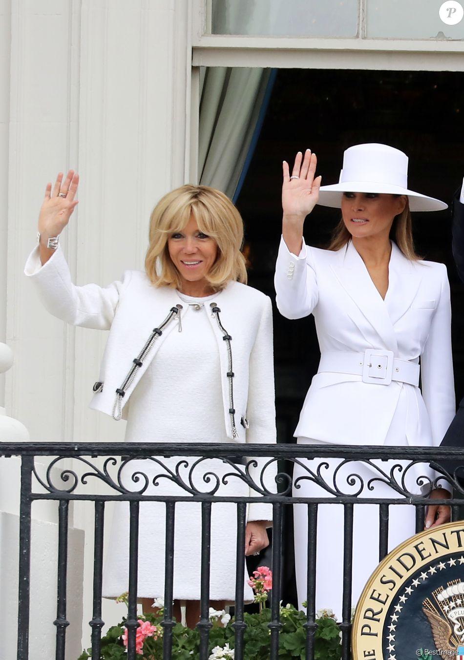 La première dame américaine melania trump et la première dame française brigitte macron trogneux