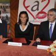 Franck Biancheri , Stéphanie et Caroline de Monaco,  à la signature d'un accord d'engagement entre l'Amade Burundi, l'Amade Mondiale et Fight Aids Monaco. 03/04/09