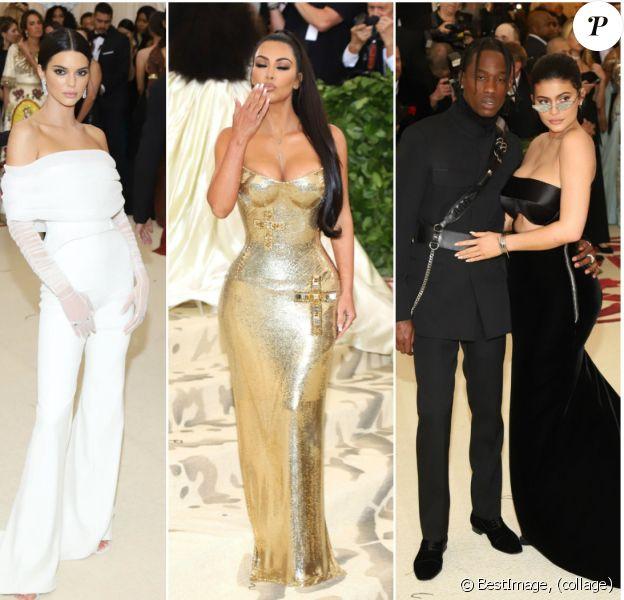 """Kylie Jenner, Travis Scott, Kim Kardashian et Kendall Jenner à l'ouverture de l'exposition """"Corps célestes : Mode et imagerie catholique"""" pour le Met Gala à New York, le 7 mai 2018."""