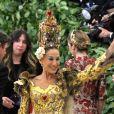 """Sarah Jessica Parker à l'ouverture de l'exposition """"Corps célestes : Mode et imagerie catholique"""" pour le Met Gala à New York, le 7 mai 2018."""