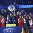 Le PSG célèbre son titre de Champion de France 2018, après son match contre Rennes (0-2) au Parc des Princes à Paris, le 12 mai 2018. © Marc Ausset-Lacroix/Bestimage