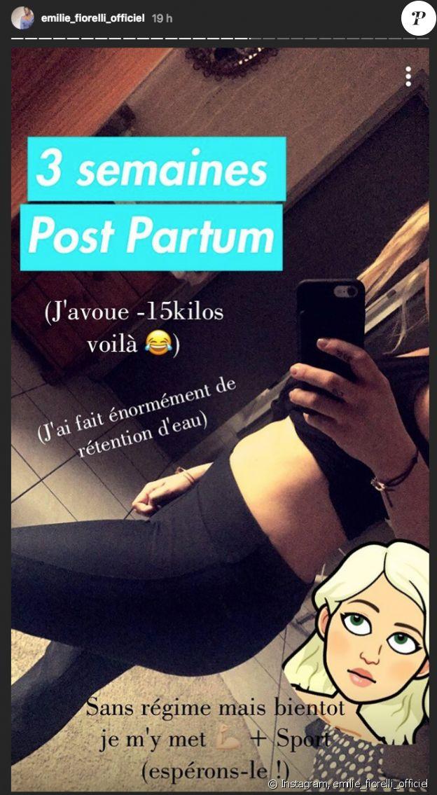 Emilie Fiorelli dévoile sa nouvelle silhouette trois semaines après l'accouchement de sa fille Louna, mai 2018.