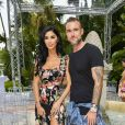 "Philipp Plein et sa compagne Morgan Osman - Les célébrités lors de la présentation de la collection Dynasty 2019 du créateur Philipp Plein dans sa villa ""La Jungle du Roi"" pendant le 71ème Festival International du Film de Cannes, France, le 16 mai 2018."