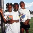 Serena et Venus Williams à l'entraînement avec leur papa Richard en mai 1991.