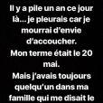 Alexia Mori (Secret Story 7) retrace sa première grossesse à l'occasion de l'anniversaire de sa fille, Louise sur Instagram. Mai 2018.
