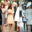 En 2006 (gauche) et 2011 (droite), Kate Middleton a porté la même tenue de la maison Day Birger et Mikkelsen pour les mariages de Laura Parker Bowles etZara Phillips.