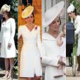Kate Middleton aime recycler ses tenues. Entre juillet 2015 et mai 2018, date du mariage du prince Harry et Meghan Markle, la duchesse de Cambridge a porté cette robe manteau de la maison Alexander McQueen pas moins de quatre fois.