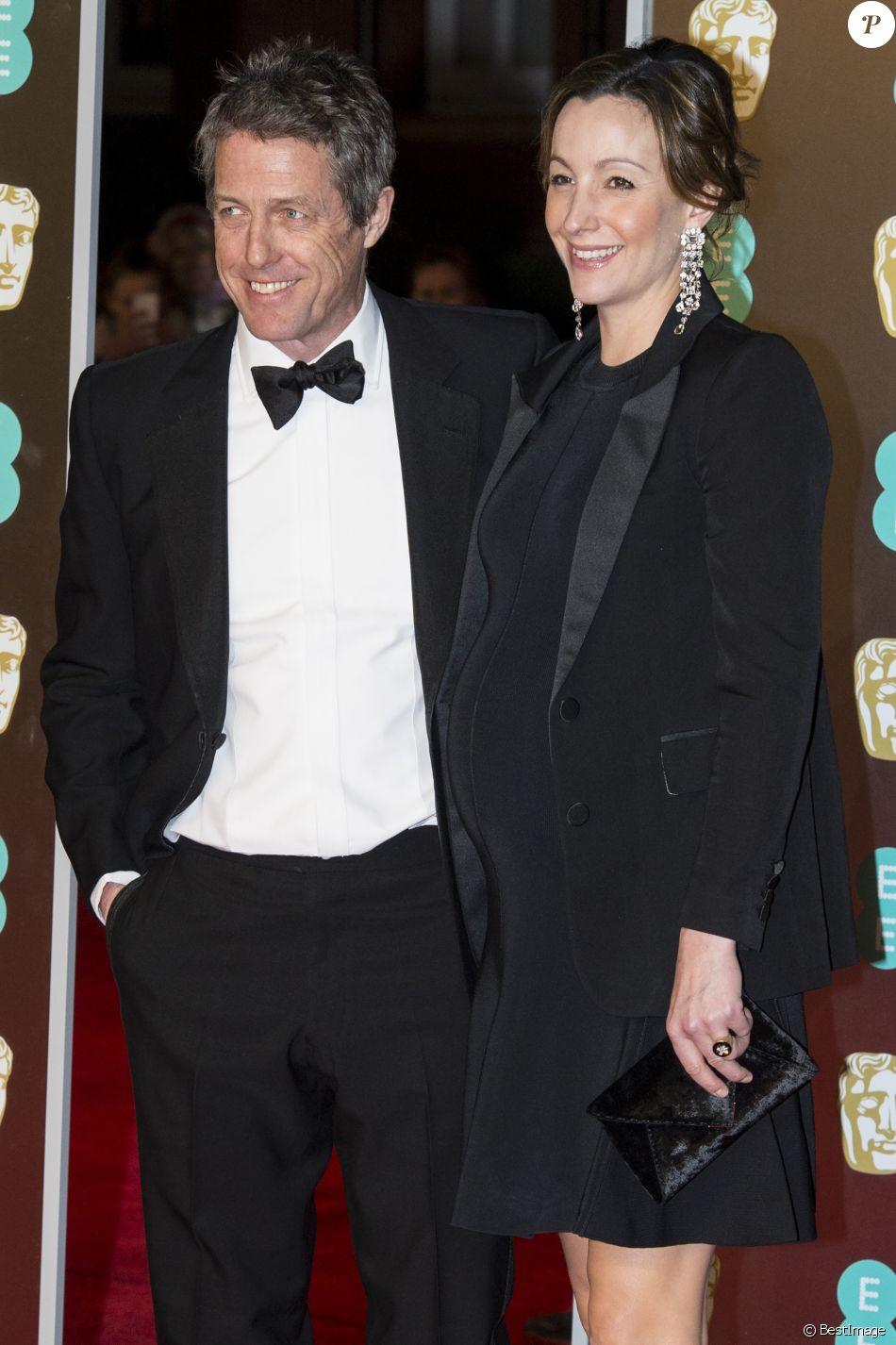 Hugh Grant et sa compagne Anna Eberstein (enceinte), à la 71ème cérémonie des British Academy Film Awards (BAFTA) au Royal Abert Hall à Londres, le 18 février 2018. © Ray Tang via Zuma Press/Bestimage