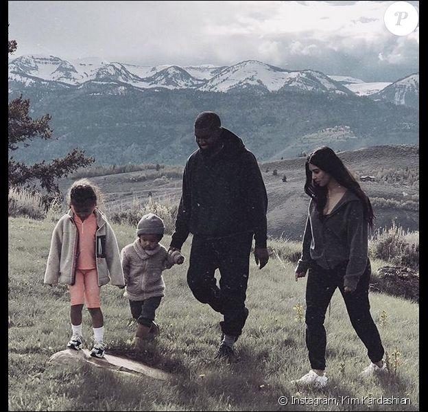Kim Kardashian, Kanye West et leurs enfants North et Saint West. Mai 2018.