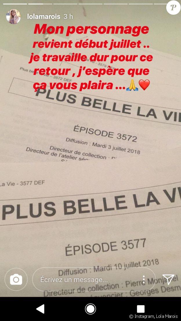 """Lola Marois annonce son retour dans """"Plus belle la vie"""""""