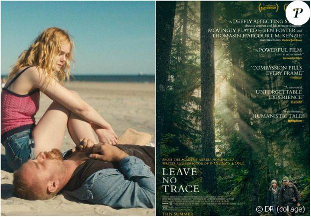 """Elle Fanning et Ben Foster dans """"Galveston"""" de Mélanie Laurent (3 octobre 2018). Affiche du film """"Leave No Trace"""" de Debra Granik (19 septembre)."""