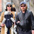 Exclusif - Première sortie en famille pour Laura Prepon et Ben foster avec leur nouveau-né Ella à New York le 2 avril 2018.