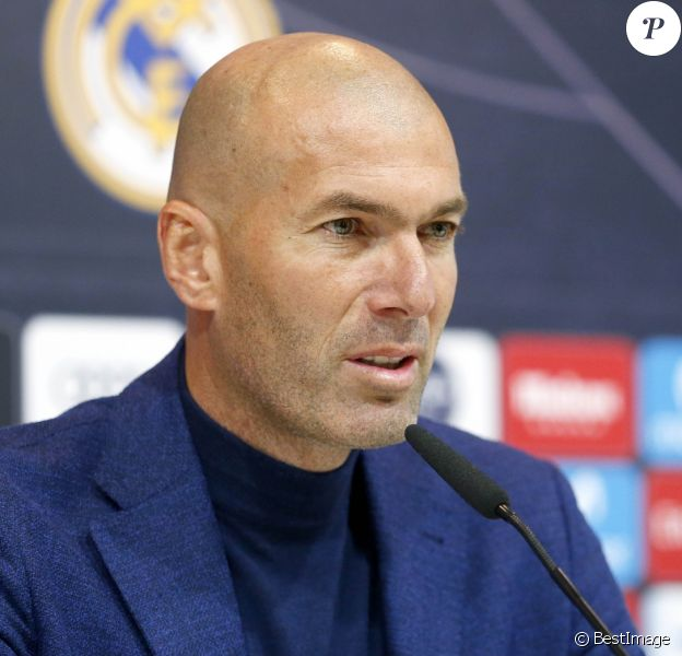 Zinedine Zidane en conférence de presse pour annoncer son départ du Real Madrid. Le 31 mai 2018.