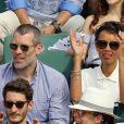 Jalil Lespert et sa compagne Sonia Rolland dans les tribunes des Internationaux de France de Tennis de Roland Garros à Paris, le 10 juin 2018. © Dominique Jacovides - Cyril Moreau/Bestimage