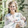 La princesse Madeleine avec la princesse Adrienne - Baptême de la princesse Adrienne de Suède à Stockholm au palais de Drottningholm en Suède le 8 juin 2018