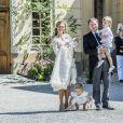 La princesse Madeleine de Suède et son mari, Christopher O'Neill en compagnie de leurs enfants, la princesse Leonore, le prince Nicolas et la princesse Adrienne - Baptême de la princesse Adrienne de Suède à Stockholm au palais de Drottningholm en Suède le 8 juin 2018