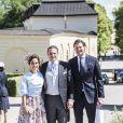 Louise Gottlieb Thott, Dag Werner et Christoffer Cederlund - Baptême de la princesse Adrienne de Suède à Stockholm au palais de Drottningholm en Suède le 8 juin 2018