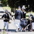 Un homme de la garde Royal a fait un malaise - Baptême de la princesse Adrienne de Suède à Stockholm au palais de Drottningholm en Suède le 8 juin 2018