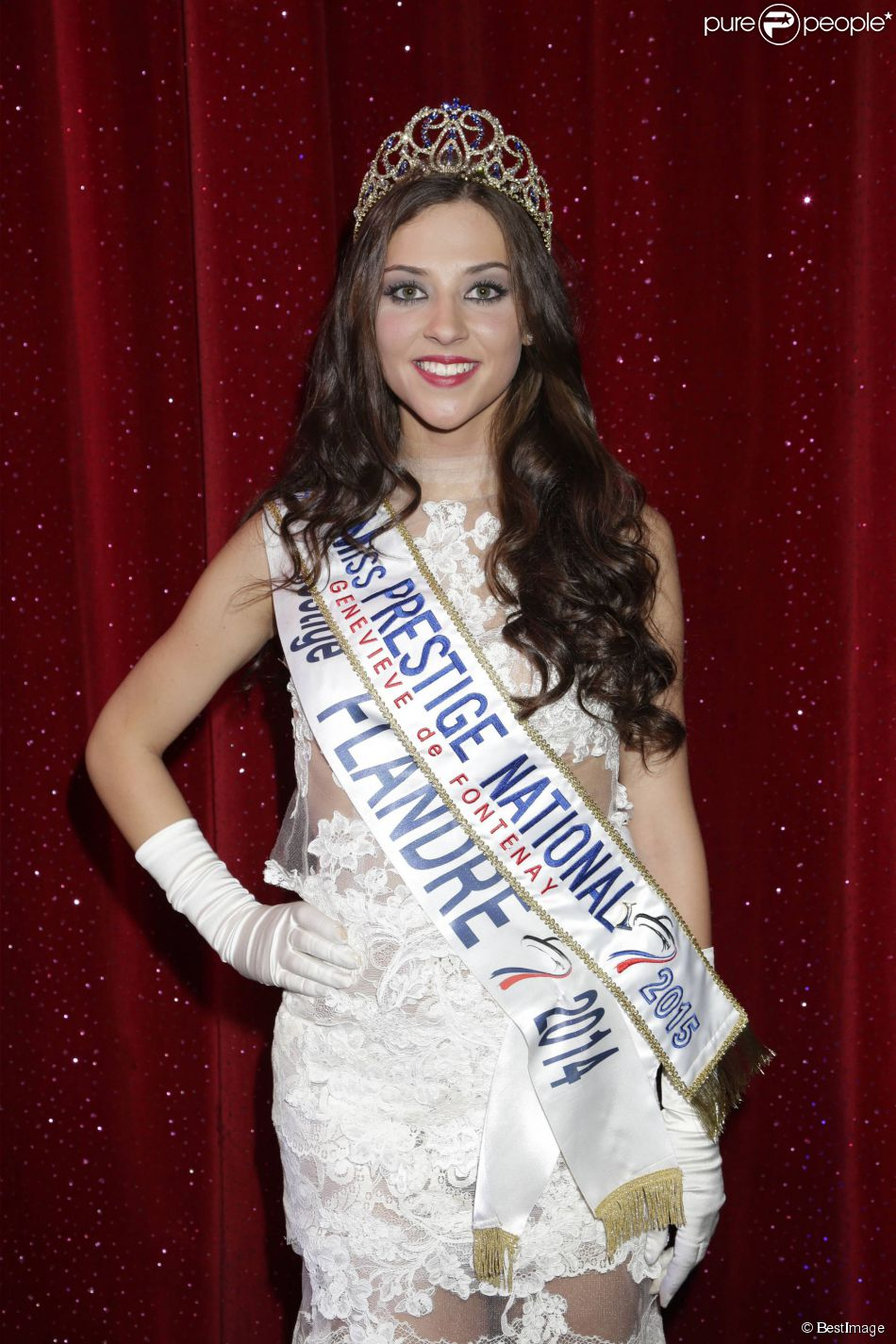 "Margaux Deroy, Miss Prestige national 2015 (Miss Prestige Flandre 2014) - Election Miss Prestige national 2015 au ""Royal Palace"" à Kirrwiller, le 18 janvier 2015."