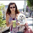 Eva Longoria avec son chien dans les rues de West Hollywood le 28 juin 2008.