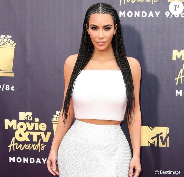 """Kim Kardashian - Les célébrités posent lors du photocall de la soirée des """"MTV Movie And TV Awards"""" à Santa Monica le 16 juin 2018."""