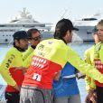 La princesse Charlene de Monaco et son co-équipier Mark Weber lors du Water Bike Challenge, au profit de la Fondation princesse Charlene de Monaco au départ du Yacht Club de Monaco le 17 juin 2018. © Bruno Bebert / Bestimage