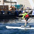 Le prince Albert II de Monaco lors du Water Bike Challenge, au profit de la Fondation princesse Charlene de Monaco au départ du Yacht Club de Monaco le 17 juin 2018. © Bruno Bebert / Bestimage