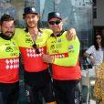 Pierre Casiraghi avec Sean et Gareth Wittstock lors du Water Bike Challenge, au profit de la Fondation princesse Charlene de Monaco au départ du Yacht Club de Monaco le 17 juin 2018. © Bruno Bebert / Bestimage