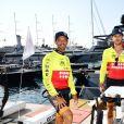 Pierre Frolla, Pierre Casiraghi lors du Water Bike Challenge, au profit de la Fondation princesse Charlene de Monaco au départ du Yacht Club de Monaco le 17 juin 2018. © Bruno Bebert / Bestimage