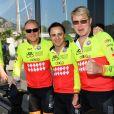 Felipe Massa (C) Mika Hakkinen (R) lors du Water Bike Challenge, au profit de la Fondation princesse Charlene de Monaco au départ du Yacht Club de Monaco le 17 juin 2018. © Bruno Bebert / Bestimage
