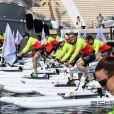 David Coulthard (en premier plan) lors du Water Bike Challenge, au profit de la Fondation princesse Charlene de Monaco au départ du Yacht Club de Monaco le 17 juin 2018. © Bruno Bebert / Bestimage
