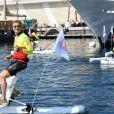 David Coulthard lors du Water Bike Challenge, au profit de la Fondation princesse Charlene de Monaco au départ du Yacht Club de Monaco le 17 juin 2018. © Bruno Bebert / Bestimage