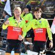 Mika Hakkinen et Charles Leclerc lors du Water Bike Challenge, au profit de la Fondation princesse Charlene de Monaco au départ du Yacht Club de Monaco le 17 juin 2018. © Bruno Bebert / Bestimage
