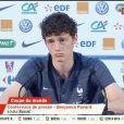Benjamin Pavard s'agace de son surnom, Jeff Tuche, en conférence de presse lundi 18 juin 2018 en marge de la Coupe du monde en Russie.