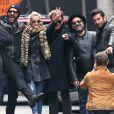Exclusif - Sébastien Farran, Maxim Nucci (Yodelice), Laeticia Hallyday, Johnny Hallyday, Mr. Brainwash (MBW) de son vrai nom Thierry Guetta, Jean Claude Sindres - Laeticia Hallyday, son mari Johnny Hallyday, et leurs amis réunis à New York le 21 mars 2015, lors du dernier jour des festivités à l'occasion de l'anniversaire de Laeticia qui fête ses 40 ans.