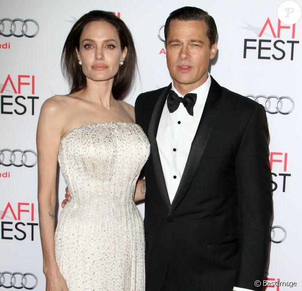 """Brad Pitt et sa femme Angelina Jolie - Avant-première du film """"By the Sea"""" lors du gala d'ouverture de l'AFI Fest à Hollywood, le 5 novembre 2015."""