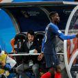 Paul Pogba, Didier Deschamps lors du match de coupe du monde opposant la France au Pérou au stade Ekaterinburg à Yekaterinburg, Russie, le 21 juin 2018. La France a gagné 1-0. © Cyril Moreau/Bestimage