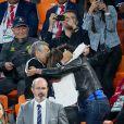 Nagui, Claude Deschamps, Leïla Kaddour-Boudadi lors du match de coupe du monde opposant la France au Pérou au stade Ekaterinburg à Yekaterinburg, Russie, le 21 juin 2018. La France a gagné 1-0. © Cyril Moreau/Bestimage