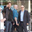 David Duchovny sur le tournage de Californication, le 16/04/09, avec son partenaire Evan Handler