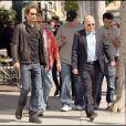David Duchovny et Evan Handler sur le tournage de Californication, le 16/04/09