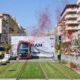 Exclusif - Arrivée du tramway sur le tronçon aérien entre le CADAM et Magnan à Nice 30 juin 2018 lors de l'inauguration de la ligne 2 Ouest Est du tramway sur le tronçon aérien entre le CADAM et Magnan à Nice 30 juin 2018. © Bruno Bebert/Bestimage